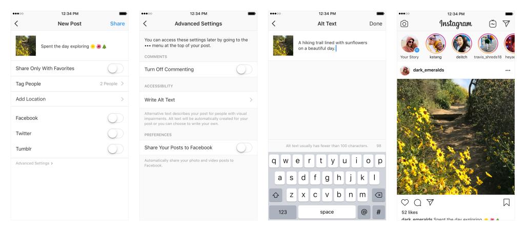 gambar tahapan pengaturan lanjutan instagram untuk memberi keterangan gambar