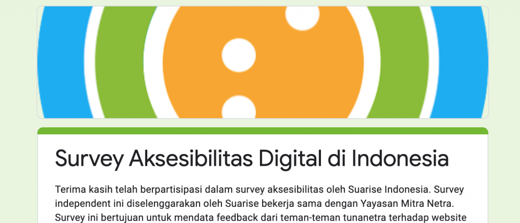 Tampilan Google Forms Survey Aksesibilitas Digital di Indonesia