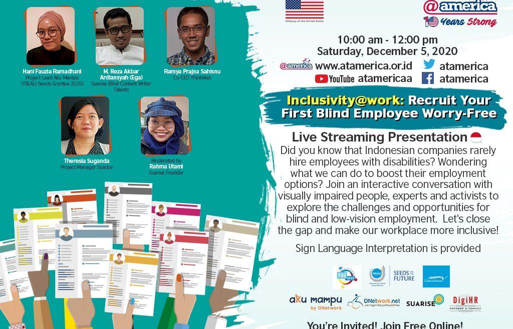 Poster acara Inclusivity at work bareng at america