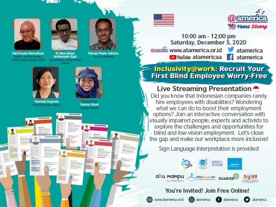 Poster acara Inclusivity at work bareng at america