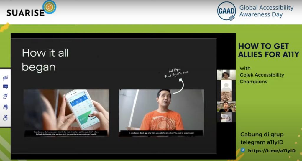 Tangkapan layar sharing sesion spesial edisi Suarise dan Gojek. Tim Gojek sedang membicarkan dampak video #TantanganAksesbilitas Gojek vs Grab